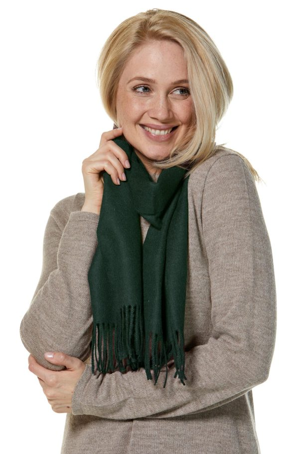 Alpaca wollen geweven shawl donker groen