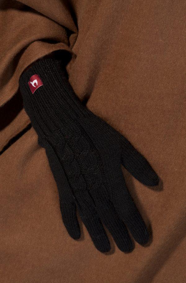 Alpaca wollen dames handschoen gebreid met kabelmotief - zwart