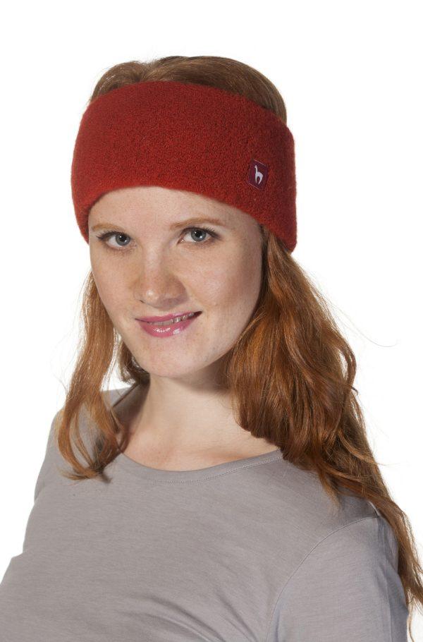 Stretch hoofdband oranje alpaca wol Apu Kuntur