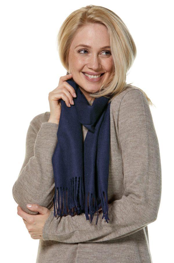 Alpaca wollen shawl geweven blauw