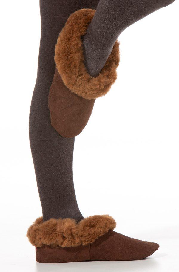 Alpaca wollen sloffen met bont en schapenvacht tegen koude voeten