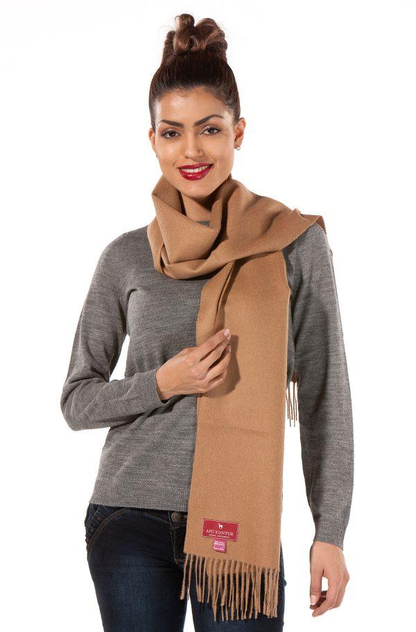 camel geweven shawl met franjes alpaca wol sjaal