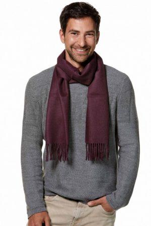 Alpaca wollen heren shawl geweven aubergine paars