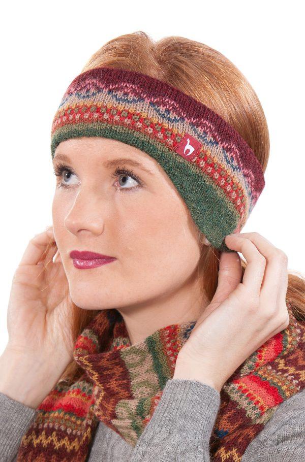 LUNA haarband met mooie print van alpaca wol