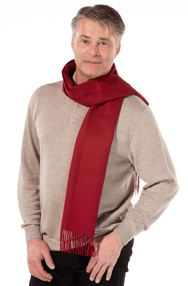 Rode alpaca wollen heren sjaal