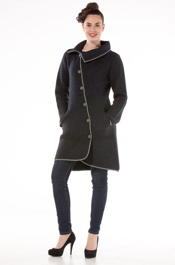 Donkerblauwe wollen mantel dames lang gevilt alpaca wol