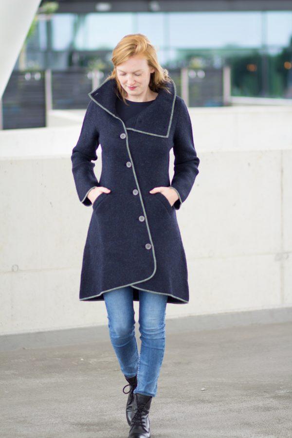 Alpaca wollen lange jas donkerblauw