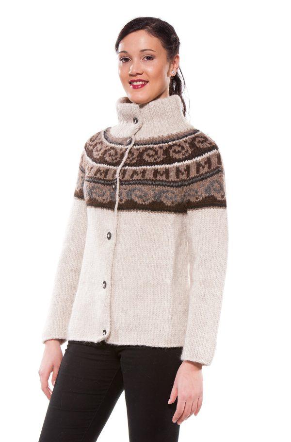 Grof gebreid damesvest alpaca wol