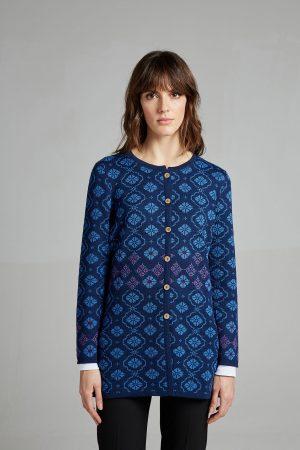 Manuela Bedford blauw vest heuplengte