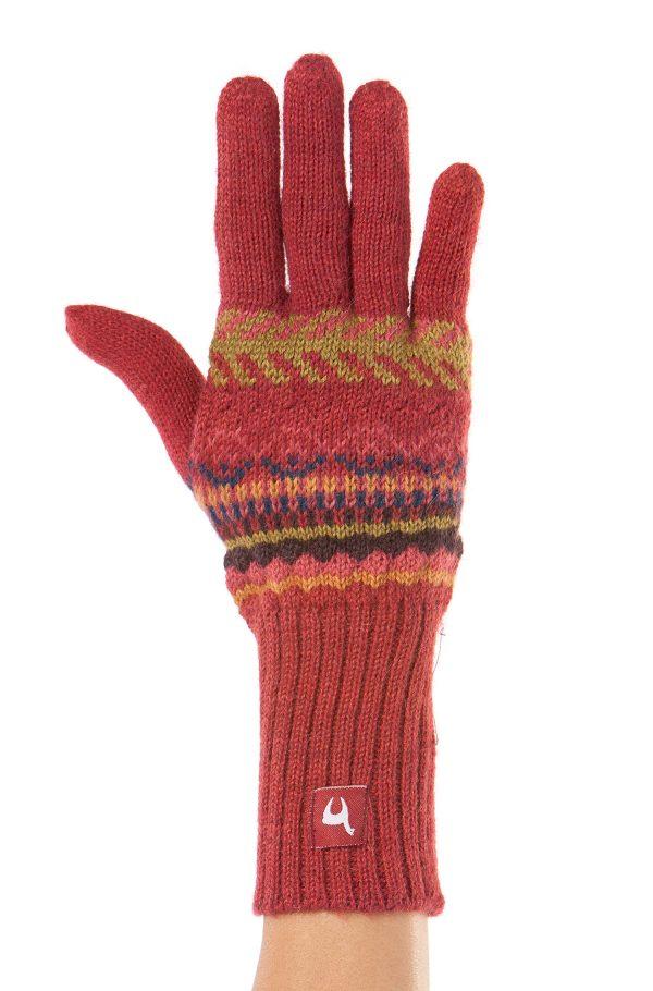 Rode gebreide handschoenen dames alpaca wol ecologische natuurlijke materialen