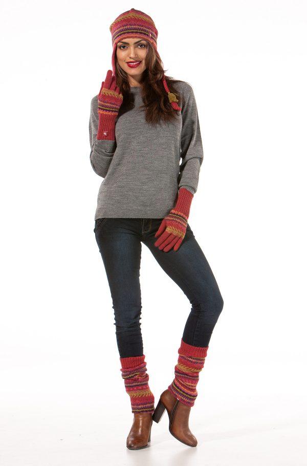 Gebreide handschoenen dames rood fair isle natuurlijke materialen alpaca wol