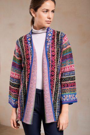 Dames vest bohemian folkloristisch patroon alpaca wol