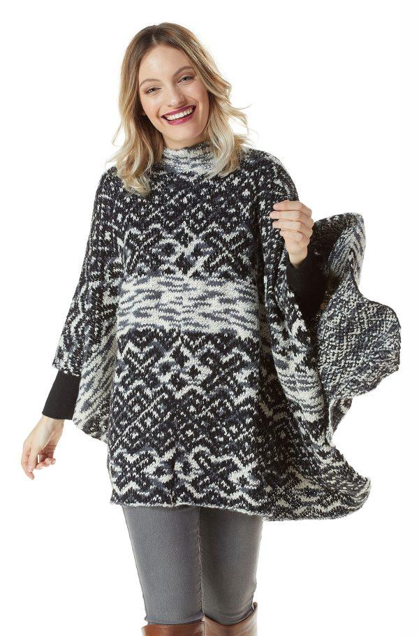 Gebreide poncho etnisch grijs zwart alpaca wol