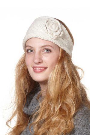 Wol witte hoofdband gebreid alpaca wol bloem