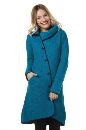 Turquoise blauwe alpaca wollen mantel jas van natuurlijke materialen