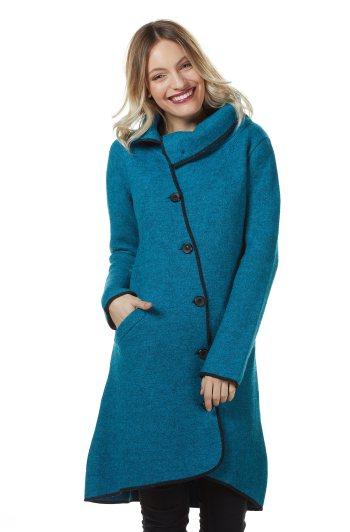Turkoois petrol blauwe mantel jas dames gevilt alpaca wol