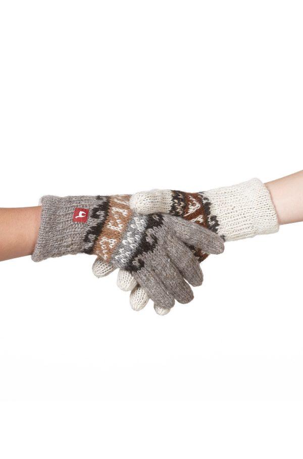 Reversible handschoenen gebreid wit grijs alpaca wol peruviaans