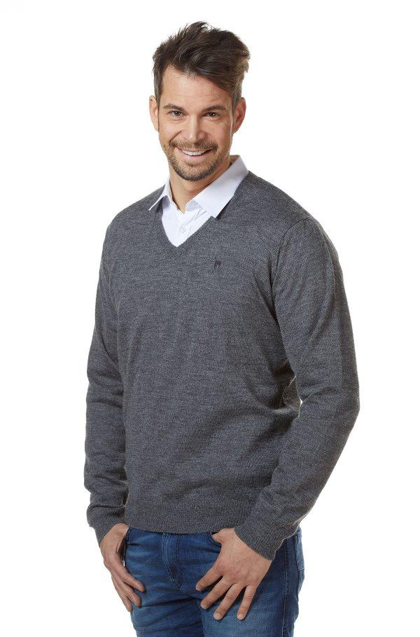 Antraciet grijze heren pullover V-hals alpaca wol