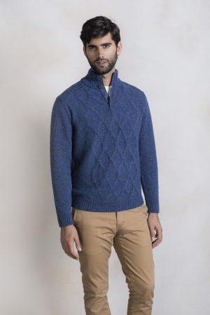 Heren kabel trui blauw gebreid alpaca wol