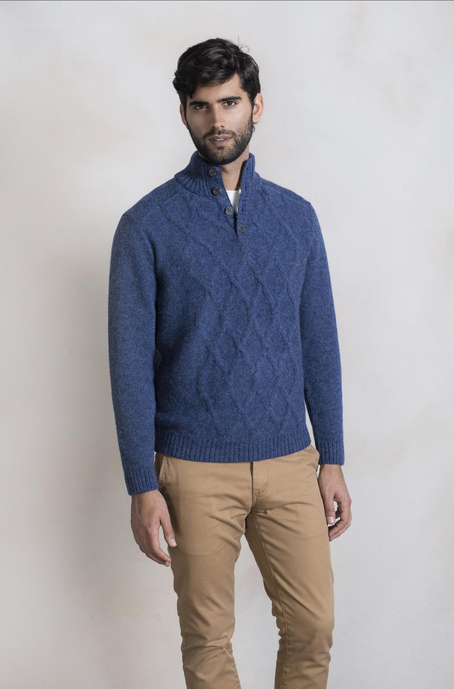 Wollen Heren Trui.Alpaca Wollen Heren Kabelvest Blauw Alpaca Fashion