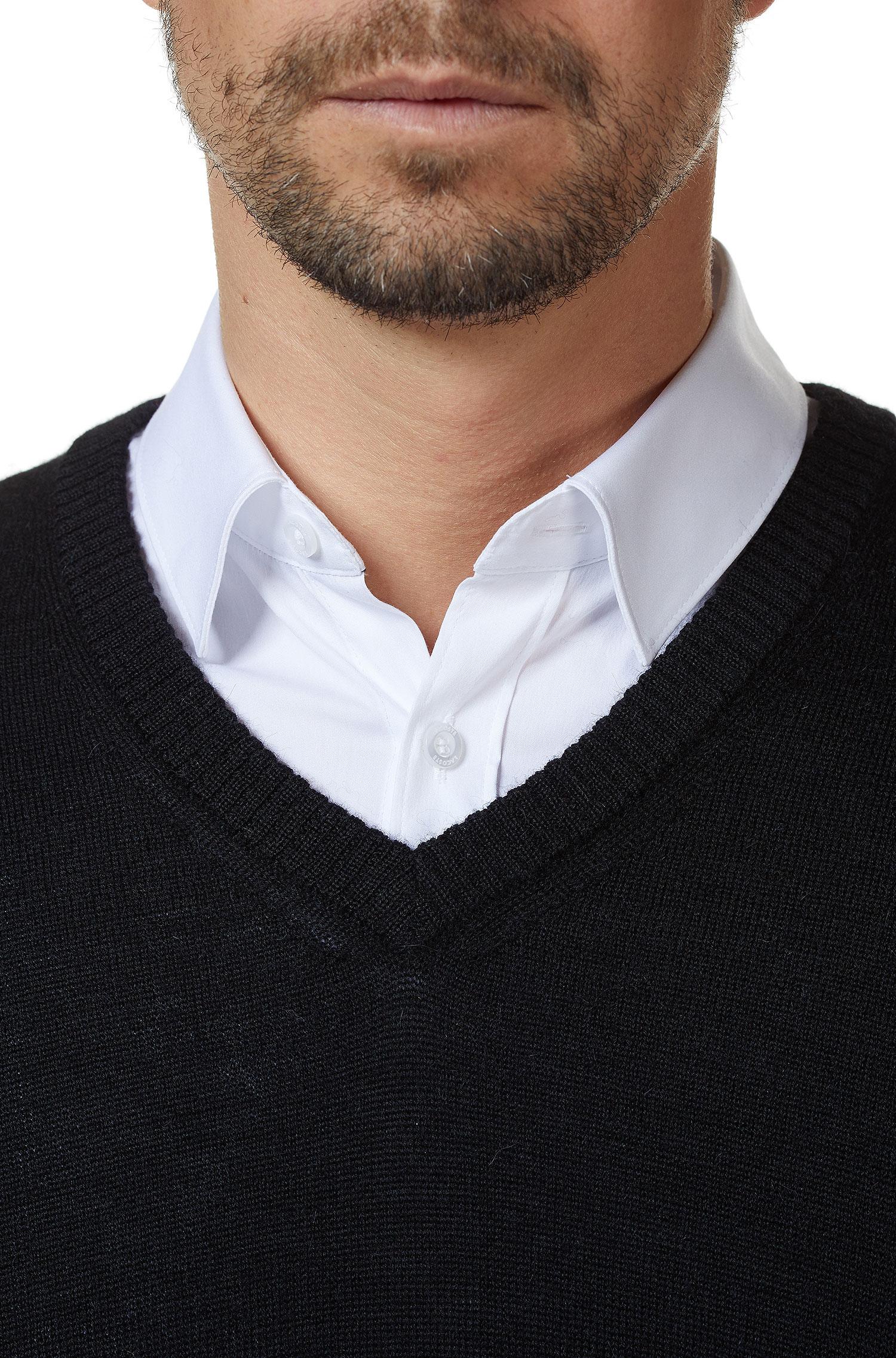 Zwarte V Hals Trui.Heren Trui Zwart Alpaca Wol Alpaca Fashion