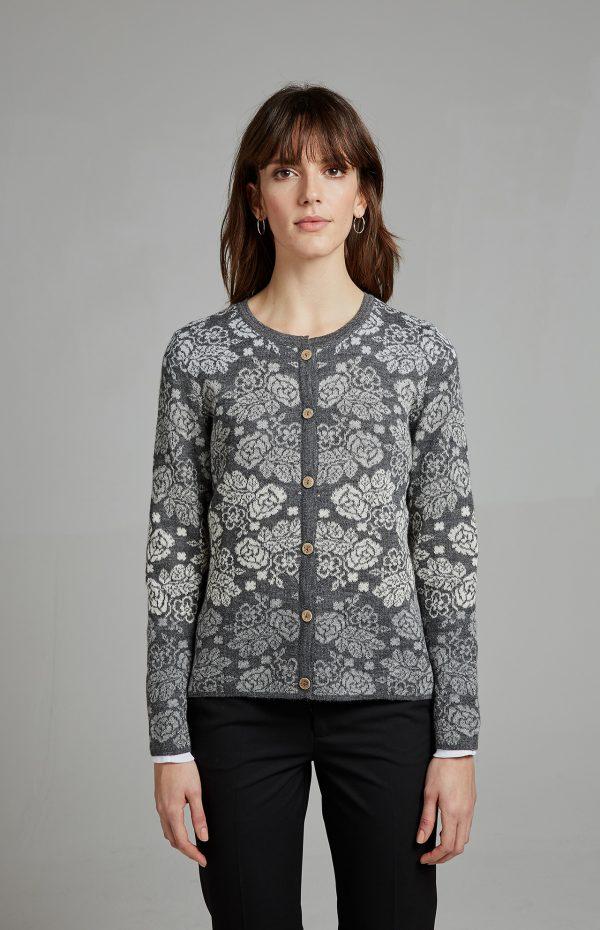 Gebreid dames vest grijs gebloemd alpaca wol Manuela Bedford