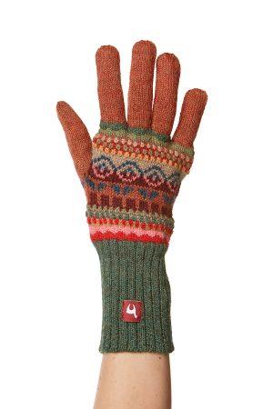Gebreide alpaca wollen handschoenen kleurrijk Peru