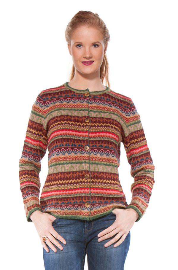 Kleurrijk gebreid dames vest van alpaca wol