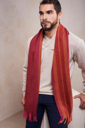 Alpaca wollen gestreepte sjaal rood oranje roze KUNA