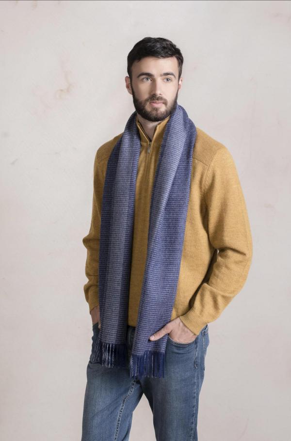 Alpaca wollen blauw geruite shawl heren