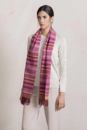 Alpaca wollen sjaal kleurrijk motief roze oranje KUNA