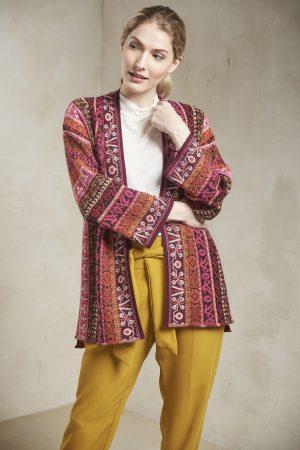 Alpaca wollen dames vest warm rood patroon