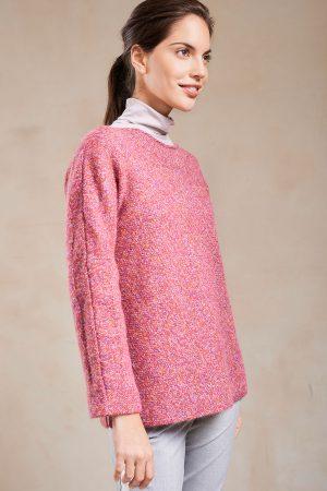 Alapca wollen gebreide damestrui roze boothals