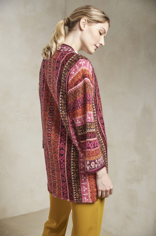 Lang alpaca wollen dames vest etnisch motief rood oranje roze peru