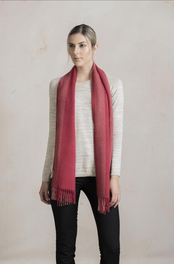 alpaca wollen rood geruite sjaal KUNA