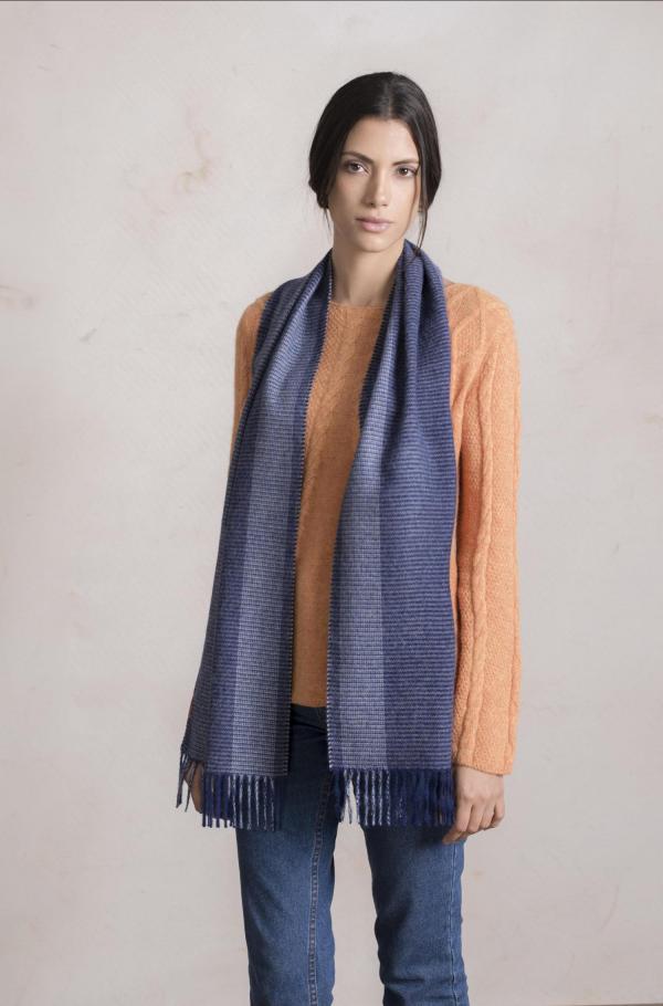 Alpaca wollen blauw geruite sjaal KUNA