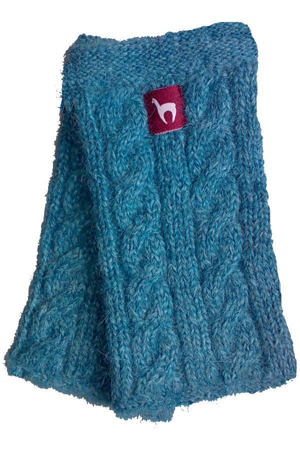 Alpaca wollen polswarmers turquoise blauw