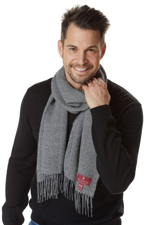 Alpaca wollen heren sjaal grijs Apu Kuntur