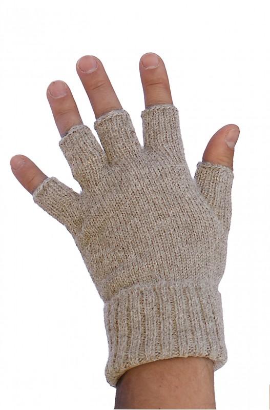 Halve vinger handschoenen vingerloos beige alpaca wol