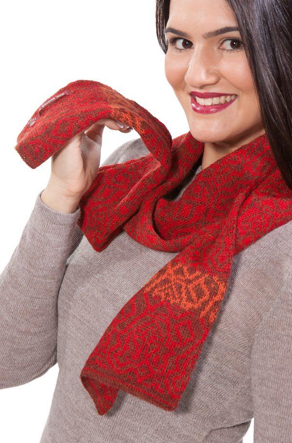 Rood oranje shawl alpaca wol APU KUNTUR