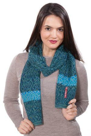 Alpaca wollen shawl turquoise blauw Apu Kuntur