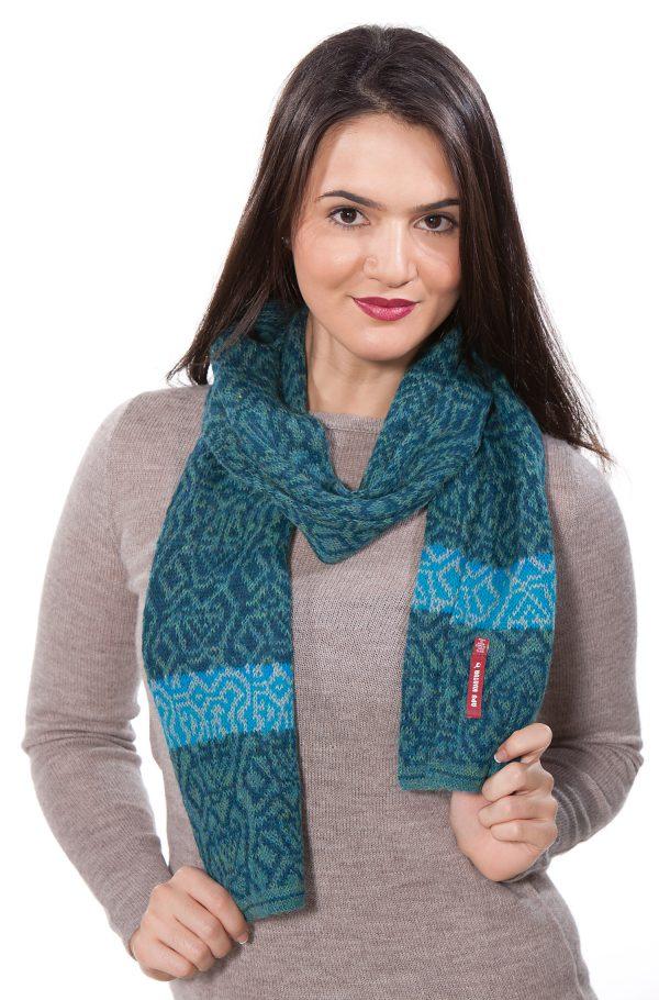 Alaoca wollen sjaal turquoise blauw Apu Kuntur