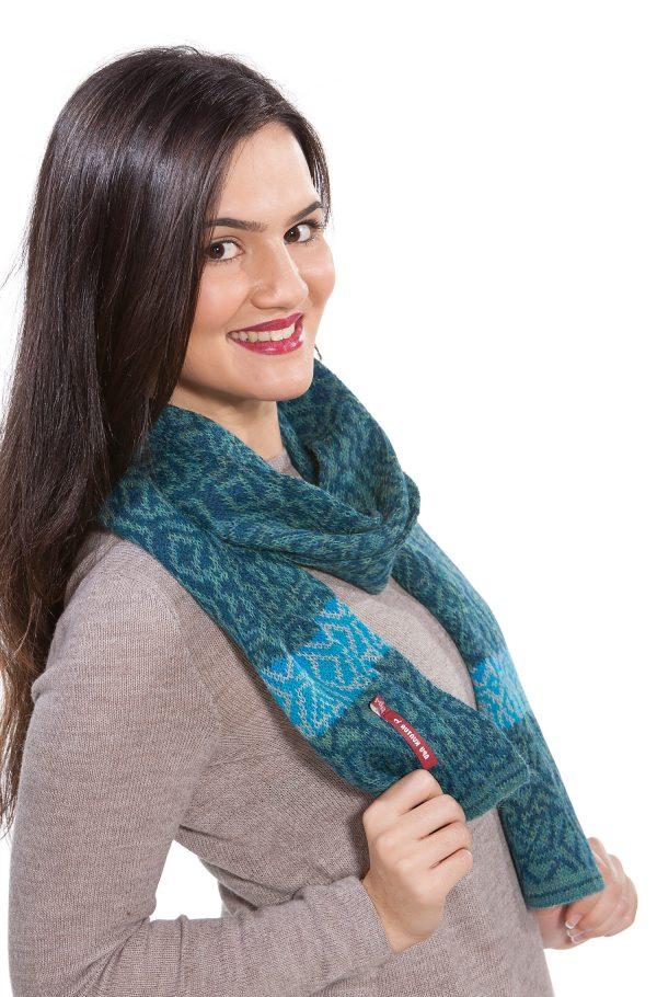 Alpaca wollen shawl turquoise blauw patroon