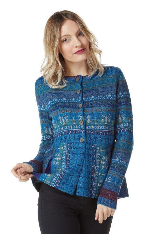 Apu Kuntur alpaca wollen dames vest turquoise blauw motief