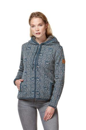 Alpaca wollen hoodie noors motief grijs blauw