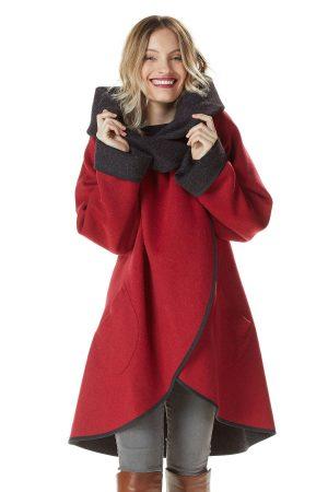 Alpaca wollen mantel cape omkeerbaar antraciet en rood