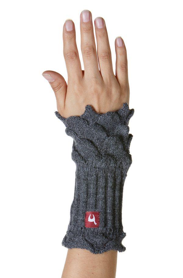 Grijze polswarmers met gebreide kant-look van alpaca wol
