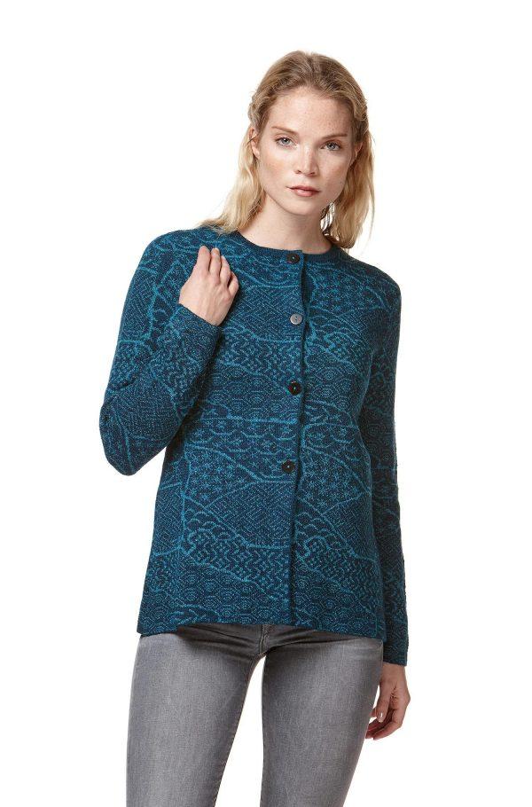 Petrol blauw motief dames vest gebreid van natuurlijke alpaca wol