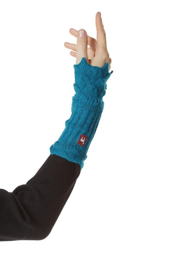 Turquoise blauwe polswarmers met gebreid kant alpaca wol