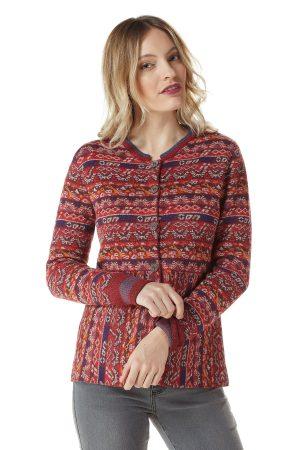 dames vest met Peruviaans patroon gebreid van alpaca wol
